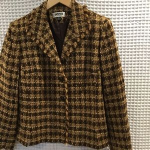 Kasper tweed jacket w/fringe. Size 8P. Never worn